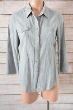 WITCHERY Top Sz 10 medium Grey Shirt Blouse cotton