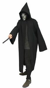 The Dragons Den Black Death Eater Cloak Evil Wizard Fancy Dress Costume