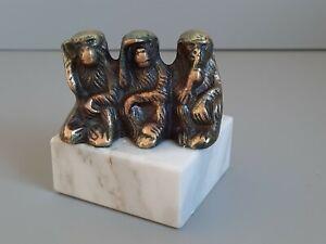 Alte  Skulptur- Figur- Drei Affen - Bronze/Messing
