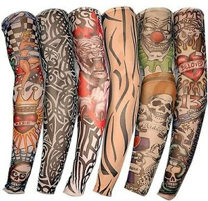 6 PCS New Nylon Elastic Fake Temporary Tattoo Sleeve Designs Body Arm Stockings