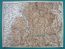 1884 MAP Baedeker - GERMANY Environs of Lahr Offenburg Homberg Oberkirch Oppenau