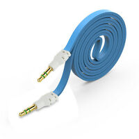 3.5mm Unique Blue Stereo Auxiliary Cable Male to Male Flat Audio Music Aux Cord