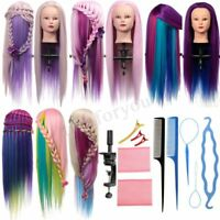 Hairdressing Colorful Hair Mannequin Training Practice Head & Clamp & Braid Tool