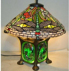 """14"""" Tiffany-Style Green Dragonfly Table Desk Accent Lamp Glass Stained Art Shade"""