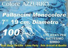 PALLONCINI AZZURRO BATTESIMO BIMBO 100 Pz 20 cm diami 7 Pollici FESTA PARTY