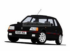 PEUGEOT 205 GTi CAR ART PRINT PICTURE (SIZE A4). PERSONALISE IT!