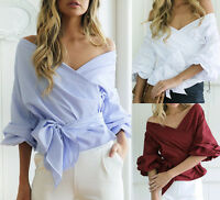 Fashion Womens V Neck Off Shoulder Work Party Tops T-shirt Shirt Blouse Clothes