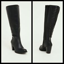 Torrid 10W Quilted Zip Back Heel Knee-High Boots Wide Width/Wide Calf Black #249