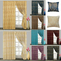 Pair Of Jacquard Pencil Pleat Curtains Tape Top Lined 66x72 & 90x90 + 2 TieBacks