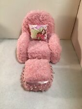 PINK CHENILLE CHAIR With Ottoman For Monster High, Barbie Or Bratz Dolls