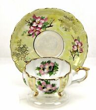 Vintage Napco Handpainted Dogwood Yellow Pink 3 Footed Teacup & Saucer Japan