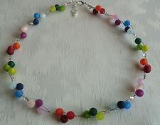 Perlen Kette Halskette Collier Polarisperlen bunt farbig Silber NEU