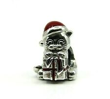 Brand New Authentic Pandora Christmas Kitten Charm with Red Enamel