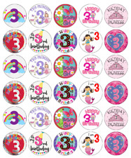 3rd Birthday Girl x 30 Cupcake Toppers Edible Wafer Paper Fairy Cake Toppers
