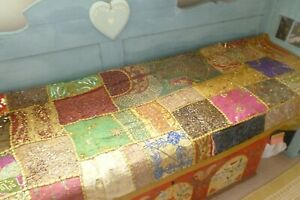 Highly decorated unusual colourful beaded quilt bedspread throw