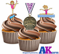 PRECUT Girls Gymnastics Happy Birthday 12 Edible Cupcake Toppers Decorations