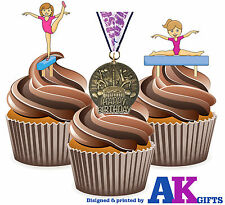 Girls Gymnastics Happy Birthday Medal Mix 12 Edible Cup Cake Toppers Decorations