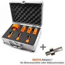 Set 7-teilig Diamant Fliesenbohrkronen Fliesenbohrer im Alukoffer M14 + Adapter