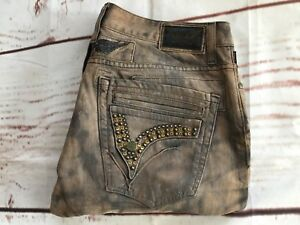 👌ROBIN'S JEAN Men's Mini Flap Studded Pockets With Gold Waxed Details Size 34👏