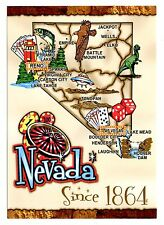 Nevada Postcard Las Vegas Reno Map Lake Mead Carson City Virginia Lake Tahoe New