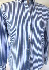 CHAPS RALPH LAUREN Blue White Stripe No-Iron Long Sleeve Blouse Misses L NWOT