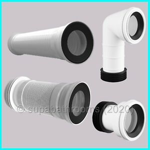 """Toilet WC Pan Connector 110mm 4"""" Straight & 90 Degree Bend Waste Pipe"""