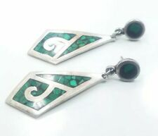Beautiful Vintage Sterling Silver 925 Mexico Ladies Pierced Green Black Earrings