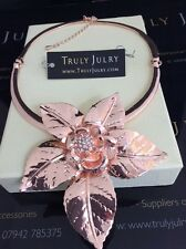 Beautiful Contemporary Rose Gold Diamanté Flower Hinged Necklace Gift Packaged