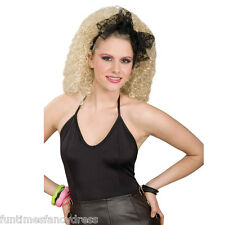 1980's Madonna Desperately Seeking Susan Black Lace Hair Scarf Bow Fancy Dress