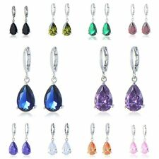 Vintgae womens White gold filled lucky rainbow crystal dangle Drop earrings