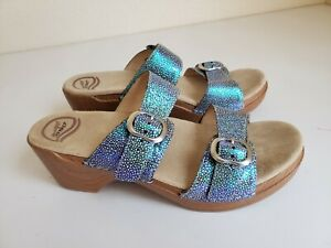 Dansko Sophie Size 41 / 10. 5 / 11 Blue Sparkle  Sandals Slides