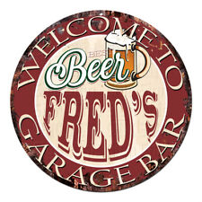 CPBG-0071 BEER FRED'S Garage Bar Chic Tin Sign Man Cave Decor Gift Ideas