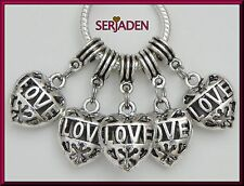 5 Hollow Heart Dangle Charms Fit European Style Jewelry 16 * 35 & 5 mm Hole S216
