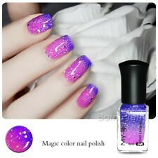 6ml Thermal Nail Varnish Color Changing Paillette Peel off Dark Blue to Purple