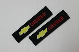 2X Car Safety Seat Belt 3D Embroidery CHEVY Logo Plush Shoulder Pad Cover