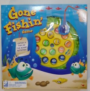 Gone Fishin' Game Catch Fish As Board Rotates 4 Fishing Poles 15 Fish - Ages 4+