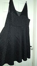 Womens Torrid Dress Black Polka Dot Plus Size Sheer Top Pin Up style sz 24