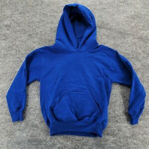Hanes Youth Pullover Size XS EcoSmart 50/50 Cotton Polyester Hooded Blue