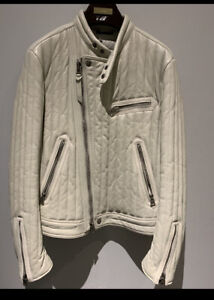 Tom Ford NWT Men's White Quilted Leather Biker/Flight Bomber  Jacket E 50