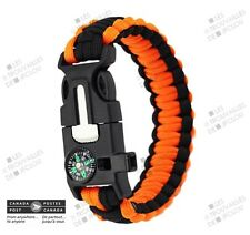 Bracelet Paracorde Orange 9 po. 4 en 1 - Homme Survie Chasse Boussole Hunter