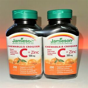 Jamieson Vitamin C + Zinc 500 mg x 200 chewables 2-Pack Canada Fresh