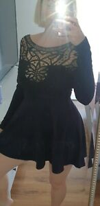 Angel Biba Black Lace Feature Long Sleeve Faux Suede 10 NWT(Fit 8 )