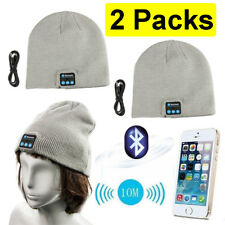 2x Beanie Hat Bluetooth Smart Cap Wireless Headset Headphone Speaker Mic Grey