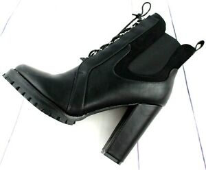 Ladies Black Chelsea Ankle Boots Womens High Block Heels Booties Shoes Sizes 3-8