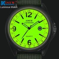 Luminous Top Watches Military Mens Casual Nylon Analog Strap Quartz Army Sports