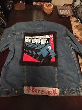 Punk Blue Jean Jacket D-Beat Crust Denim Battle Patches Pins Vintage Route 66