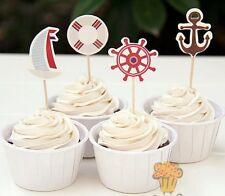 24 NAUTICAL OCEAN SAILING CUPCAKE TOPPERS/ PARTY/ BIRTHDAY SAIL BOAT SEA