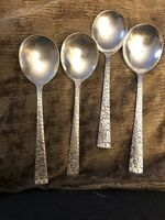 International Silver: IS 1968: Vintage Pattern Silver-Plate: 4 Soup Spoons