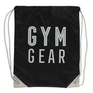 Gym Gear  black Drawstring Bag