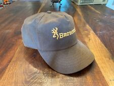 Vintage Browning Waxed Cotton Hunting Baseball Cap Hat Duck Deer